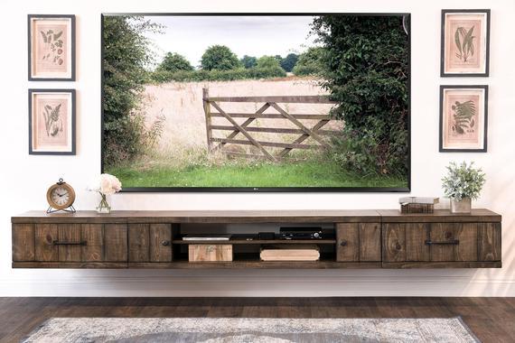Farmhouse Rustic Wood Floating TV Stand Entertainment Center   Et