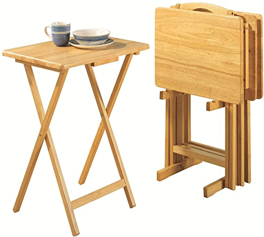 Amazon.com: PJ Wood Folding TV Tray Table & Snack Table with .