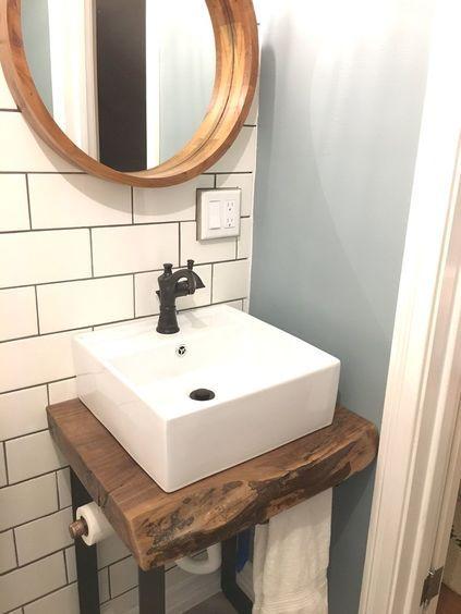 Live Edge vanity base. Vessel sink. Subway tile. perfect .