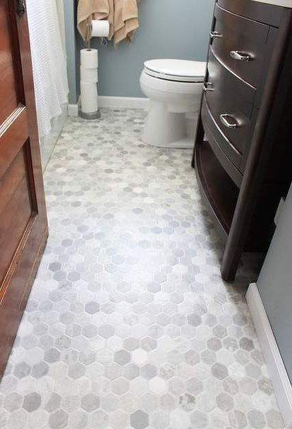 How to Install a Sheet Vinyl Floor   Gray tile bathroom floor .