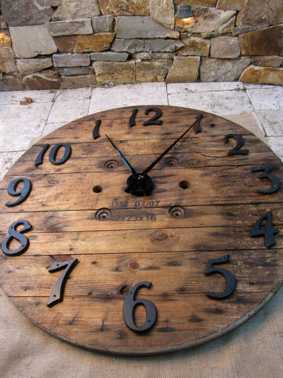 "Recycled Wood Wall Clock - French Barn look - LARGE 41"" Diameter ."