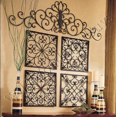 Square Wrought Iron Wall Grille Decor Medallions … | Wrought iron .