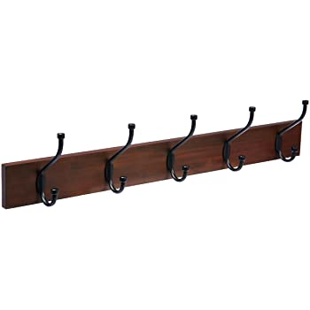 Amazon.com: Dseap Coat Rack Wall Mounted - 5 Tri Hooks, Heavy Duty .