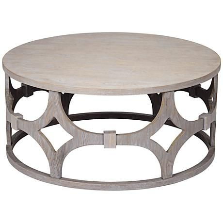 "Lanini Gray Wash 39 1/4"" Wide Round Coffee Table - #1P608 