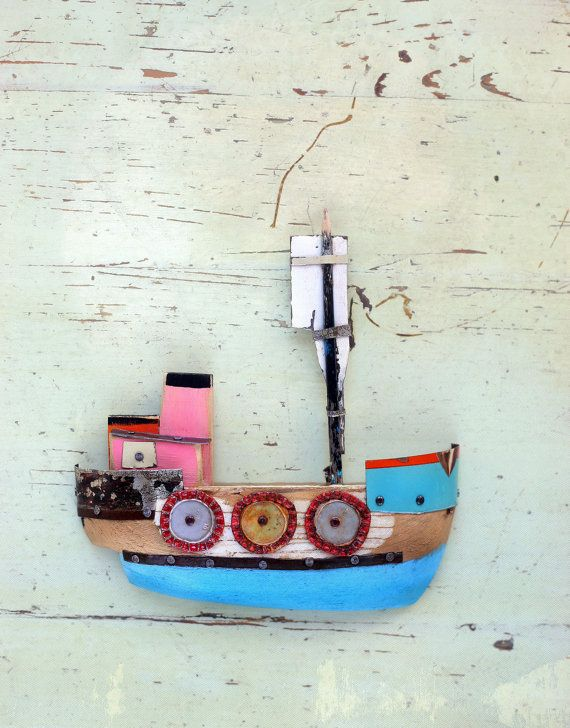 Rustic pink blue wooden boat for the wall. Wall decor wooden boat .
