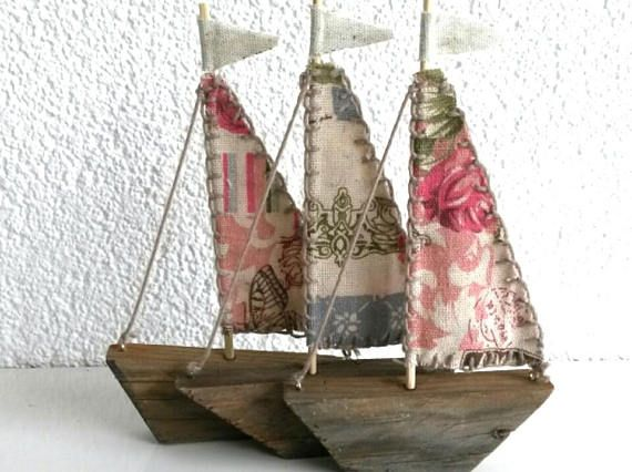 THREE Driftwood Sailboats, Wooden Boat, Repurposed Wood Boat Decor .
