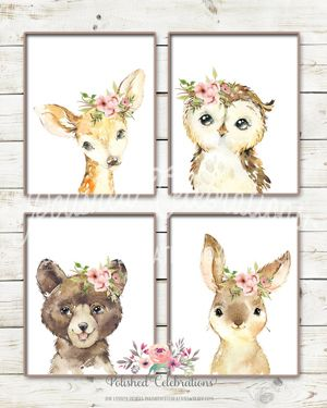 Girl Woodland Animal Nursery Wall Decor in 2020 | Woodland nursery .