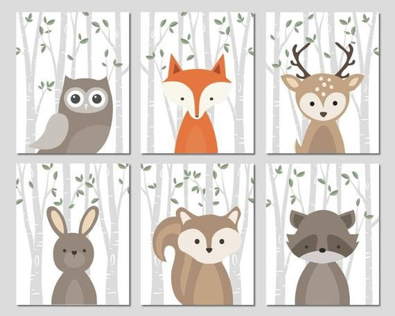 Forest Animals Nursery Art Woodland Creatures Wall Decor Baby .