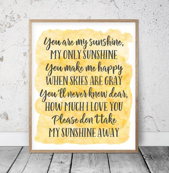 You Are My Sunshine Wall Art Kids Room Decor Yellow Nursery | Et